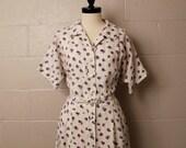 Vintage 1950's Tailor Town Purple Linen Shirtwaist Dress Plus Size