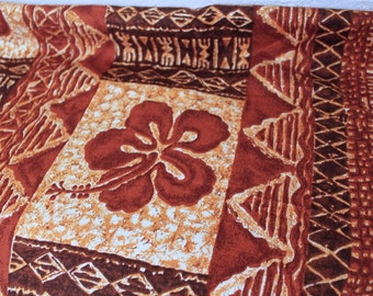 Vintage 1950's 1960's Hawaiian Barkcloth Cotton Fabric Brown
