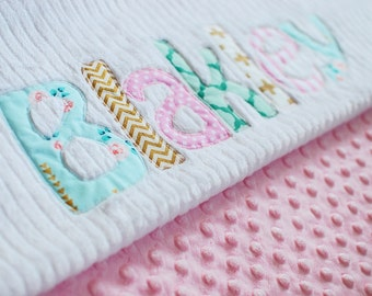 Monogrammed Baby Blanket in DAWN, Metallic Gold, Pink, and Aqua Blue Accents with White Chenille and Soft Minky Personalized for Baby Girl