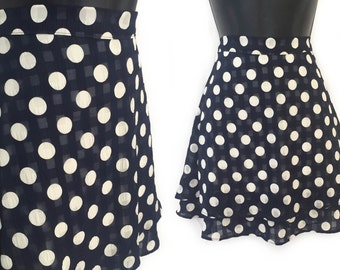 90s Navy Blue with Ivory Polka Dots Tiered High Waisted Mini Skirt S M