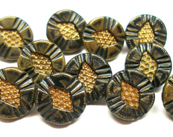 12 Antique BUTTONS, Victorian pierced metal twinkles with green tint, 1/2""