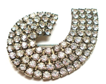 50s Rhinestone brooch, Wave design.