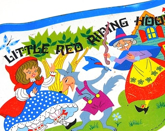 Tin toy tea tray, Storybook Red Riding Hood lithograph.