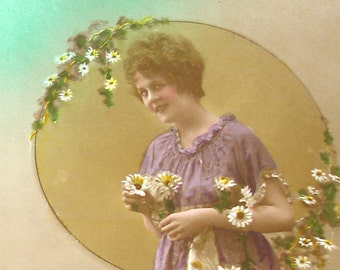 1900s French postcard Edwardian lady with daisies,  RPPC real photo, paper ephemera.