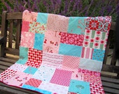 32x36 Red Riding Hood Random Patchwork and Minky Blanket Ready to Ship