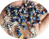 BLUE CLOISONNE rose beads rosary catholic ROSARY necklace Italy cross crucifix