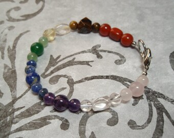 Chakra Gemstone Bracelet Lobster Claw and Loop Clasp