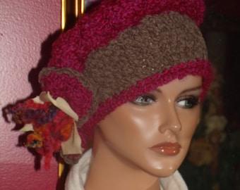 Flapper Hat  City  Beret Crochet Boho High Fashion 1920style hat