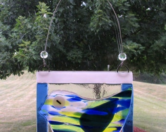 Fused Glass Bird in Blue White Green Sun Catcher