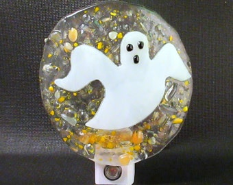 Fused Glass Spooky Ghost with Confetti Dusk to Dawn LED Nightlight