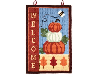 PATTERN: Fall Welcome Wall Hanging in Plastic Canvas