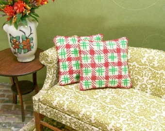 Red Green Plaid Pillows Christmas 1:12 Dollhouse Miniatures Scale Artisan
