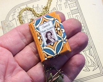 "Miniature book necklace ""Classical music scores"""