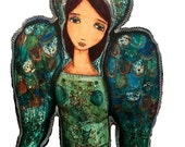 On Sale already plus 25% off at checkout - Angel Azul - Original Art Pillow Doll  (14 inches) by FLOR LARIOS