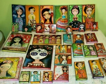 Pre - Order - Your Choice Any - Frida -  Small Giclee Print Reproduction Mounted  Wood Block - Folk Art  by FLOR LARIOS