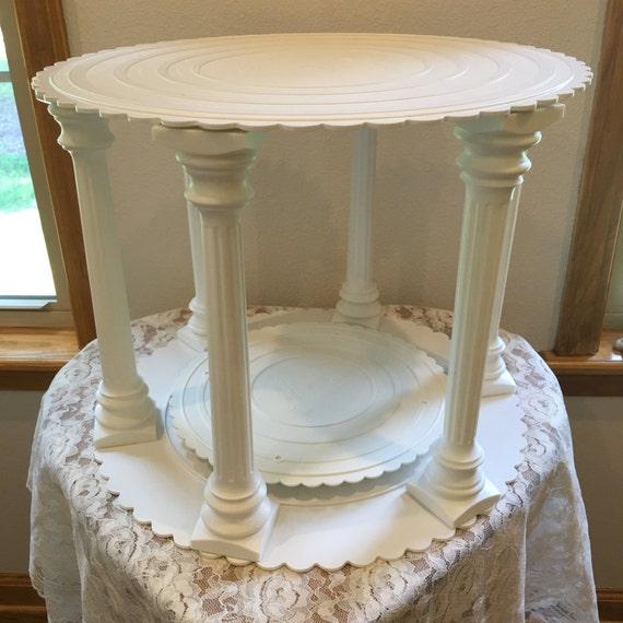 vintage wilton roman column and plate set 301 1981 wedding cake stand from cottageroseshop on. Black Bedroom Furniture Sets. Home Design Ideas
