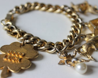 Vintage Charm Bracelet Good Luck Four Leaf Clover Horse Wishing Well and Mouse Vintage Bracelet Cupid Lucky Cherub Gold