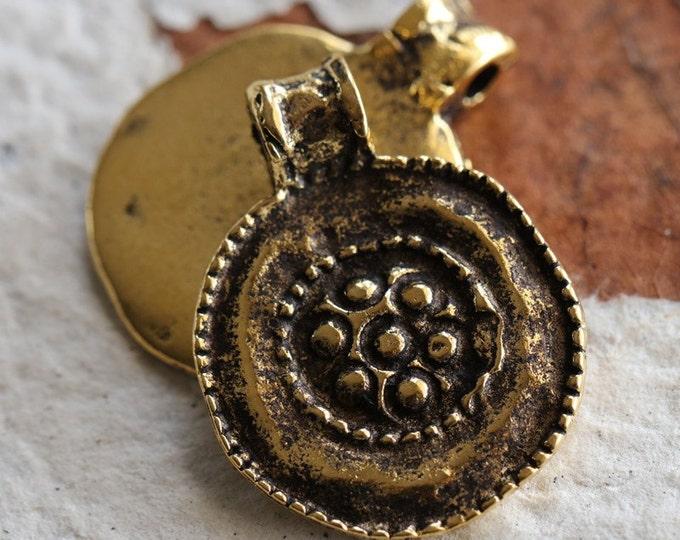 FLORAL MEDALLION No. 2 .. 1 Mykonos Greek Round Charm Beads 19x24mm (M116-1)