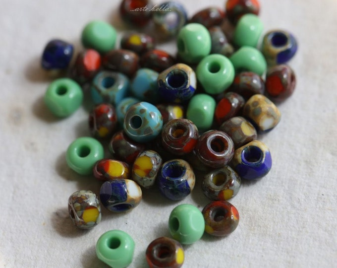 SEED BEAD MIX No. 5143 .. 50 Picasso Czech Glass Tri-Cut Seed Bead Mix Size 6/0 (5143-50)