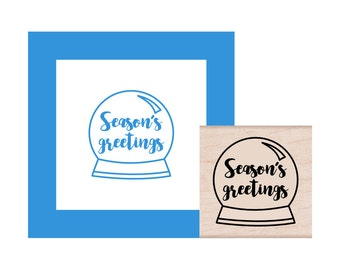 Snow Globe Seasons Greetings Rubber Stamp