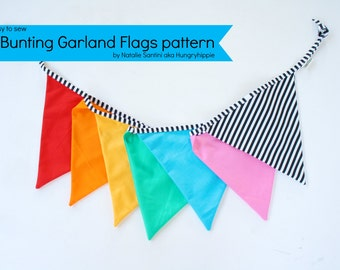PDF Sewing pattern Bunting Flags Garland Decoration