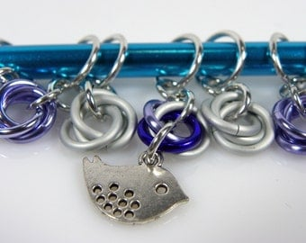 Knitting Stitch Markers - Little Bird Stitch Markers - Sun Knitting Stitch Markers - Chainmaille Stitch Markers - Moebius Stitch Marker