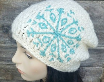 Tribal Snowflake Slouch Hat Slouchy Hat Snowflake Hat Womens Winter Hat Cream Aqua Light Blue Boho Hat Bohemian Hat  - MADE TO ORDER