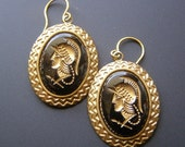 ON SALE Gladiator Earrings, Vintage Cameo Earrings, Black Gold Glass Intaglio, Roman Warrior Earrings, Dangle Earrings