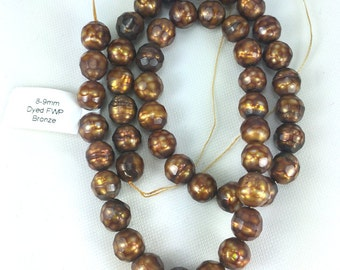 8-9mm Dyed Fresh Water Pearl Bronze -  16 Strand - 48 beads