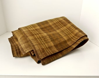 Vintage Wool Plaid Throw Stadium Blanket