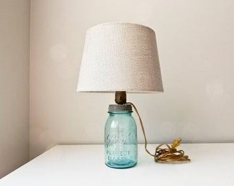 Blue Ball Mason Jar Lamp