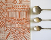 Tiled - screen printed fabric - metallic colours