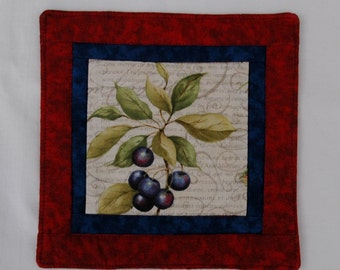 Summer Berries Mug Rug Coaster or Mini Quilt #5 Blueberry Plum