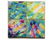 Handmade Paper Coasters - Paste Paper - Abstract Design - Striped Decor - Colorful Table Art - Wedding Gift - Paper Coasters