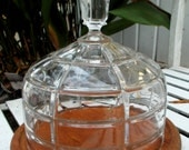 Vintage Wooden Cheese Tray with Glass Dome Lid / Display Tray Serving Dish Kitchenware