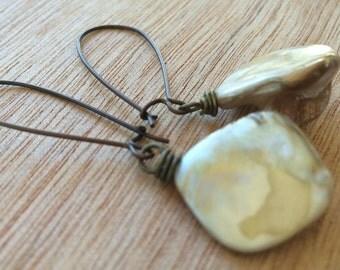 E443 Mother of Pearl & Copper Earrings