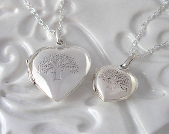 Sterling Silver Tree Of Life Heart Locket - Large