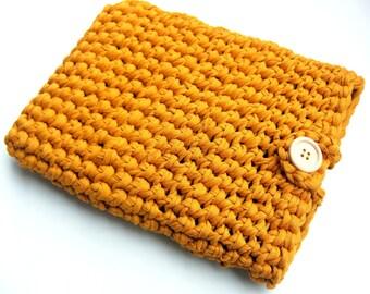 Mustard Crochet Tablet Case,Mustard Cotton Tablet case,Mustard Knitted Laptop Case, Knitted Ipad Case, Mustard Woven Cover,Ochre Tablet Case