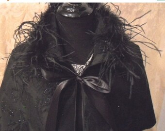 BIG Fall Sale 35% Off CAPELET - Black Satin Sparkle Ostrich Feathers Glam Girl Holiday - Black Sparkle