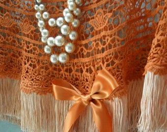 BIG Fall Sale 35% Off CAPELET Shawl Cover Up Crocheted Lace Whimsical Fall Fringe - Burnt Harvest