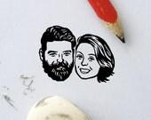 Personalized gift Custom portrait Illustrated portrait Couples / drawing / bridesmaids engagement wedding save the date Unique couples' art