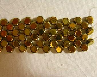 Honey Comb Beads 6mm - 2 Hole Czech - Full Coat Amber (Gold) - 30 Beads