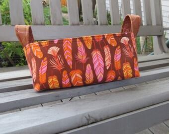 Fabric Basket Bin, Storage, Organization, Home Decor, Gift Bin, Fabric Bin, Feathers, Small Size