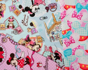 Disney fabric scrap  Minnie Mouse  print 25 cm by 25 cm or 9.6 by 9.6 inches each piece 2015
