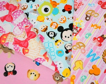 Disney licensed  fabric  Minnie Mouse and Tsum tsum   print 9.6 by 9.6 inches each piece (ns04) Printed in Japan ©Disney