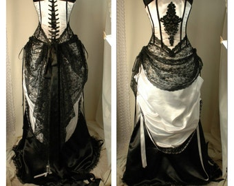 STANDARD SIZE Cassandra - black and white wedding dress with steel boned corset