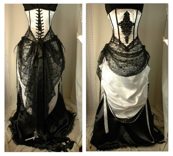 Cassandra - custom made steel boned corset gown in black and white duchess satin wedding bridal