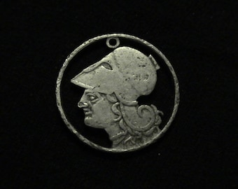 GREECE - cut coin pendant - w/ Athena, Greek Goddess of Wisdom and War - 1926 - OLD and TOUGH DISCOuNT