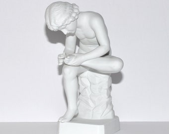 White Bisque Boy with Thorn Fedele Spinario Statue