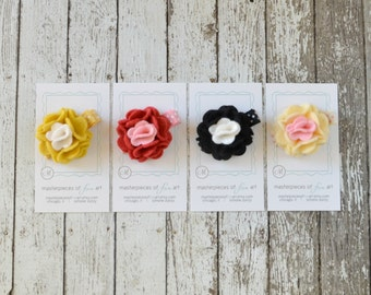 Set of 4 SMALL felt carnation flower clips on polka dot hair clips - yellow, red, black, ivory - spring clippie hairbow set